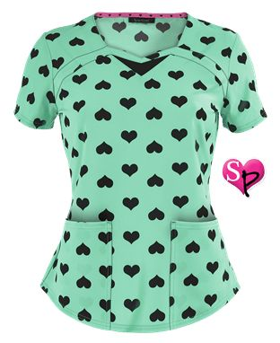 Heartsoul Heart To Forget You-Mint Print Scrub Top Style # HL2092HE…