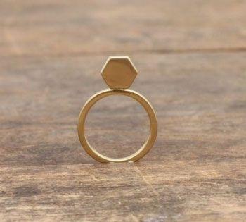 Pigeonhole Gold Hexagon Ring