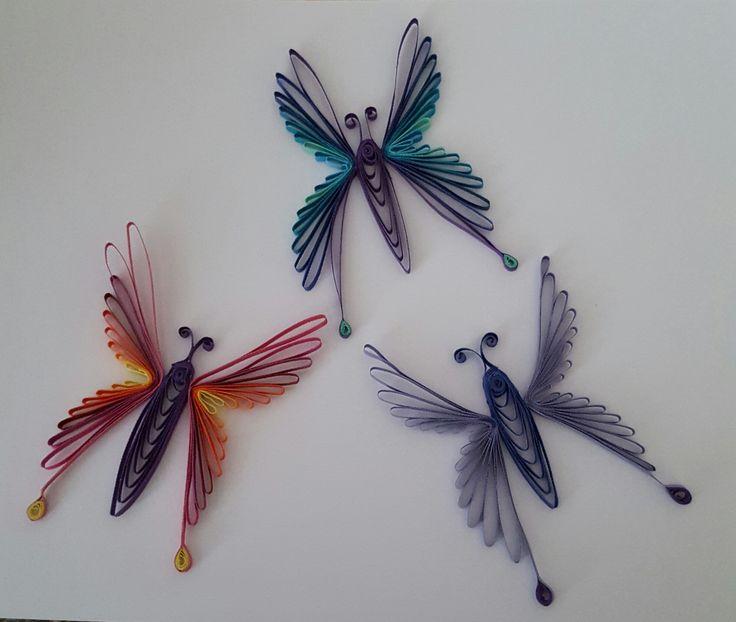 Libellen, Kamm-Quilling, jeweils ca. 6x8 cm, 3mm-Streifen, by MonikasQuillingArt