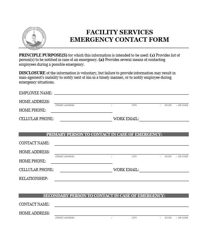 Emergency Contacts Form Templates New 54 Free Emergency Contact Forms Employee Student Emergency Contact Form Emergency Contact Emergency Contact List