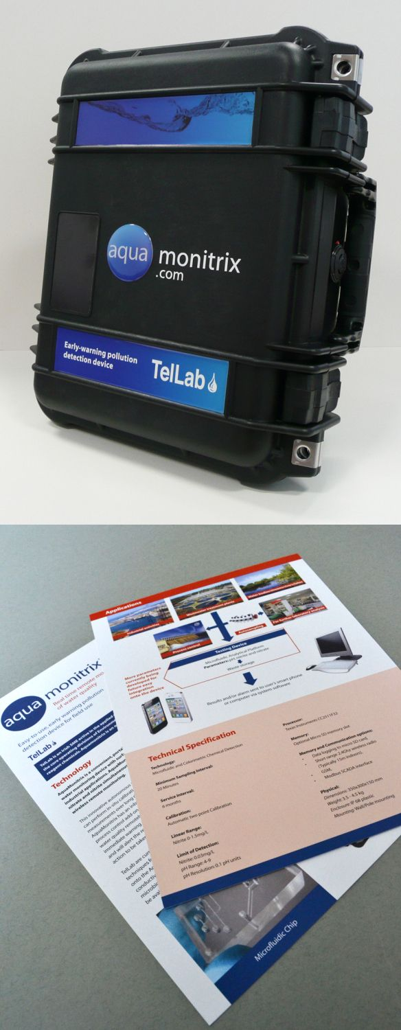 An explanatory leaflet and box graphics including bubble sticker created for T. E. Laboratories for their new early warning water pollution device, Aquamonitrix. www.akgraphics.ie