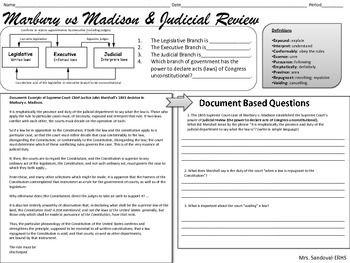 Marbury V Madison Judicial Review Dbq Lessons I Created Social