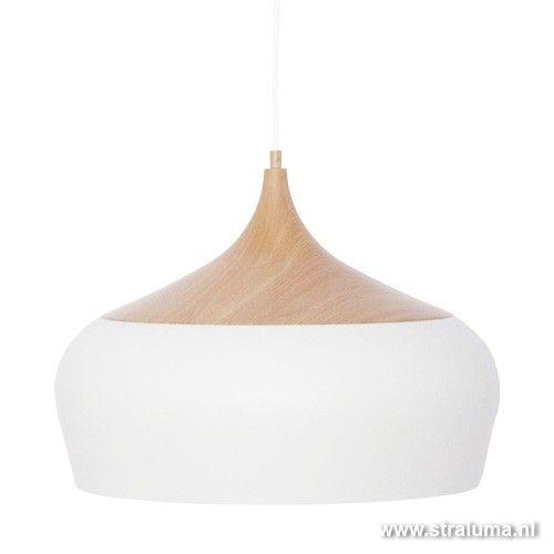 Scandinavische hanglamp wit en hout - www.straluma.nl
