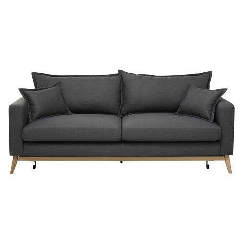 Ausziehbares Sofa 3-sitzig aus Stoff, schiefergrau