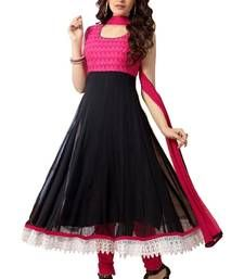Buy Black and Pink Brasso georgette semi stitched salwar with dupatta party-wear-salwar-kameez online