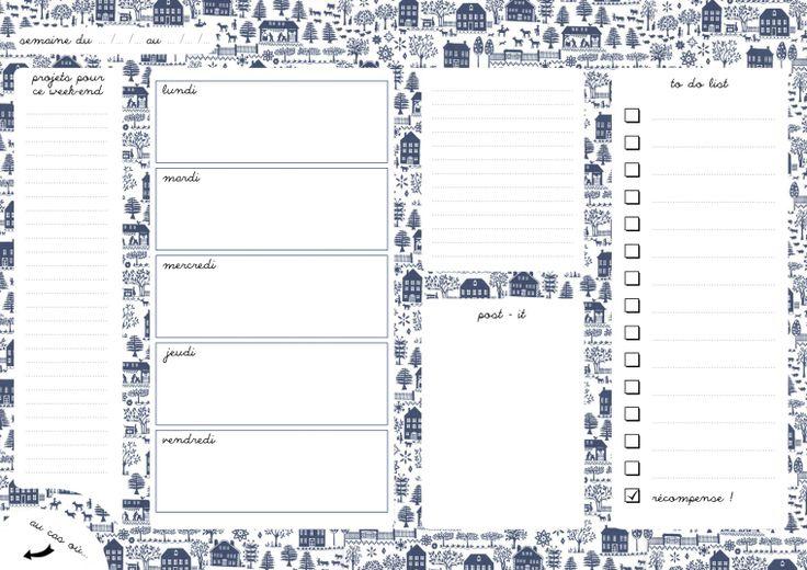 semainier - organisation - à imprimer