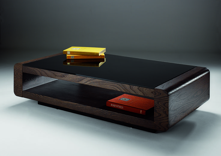Penthouse Coffee Table - beautiful dark elm veneer open tables topped with dark tempered glass