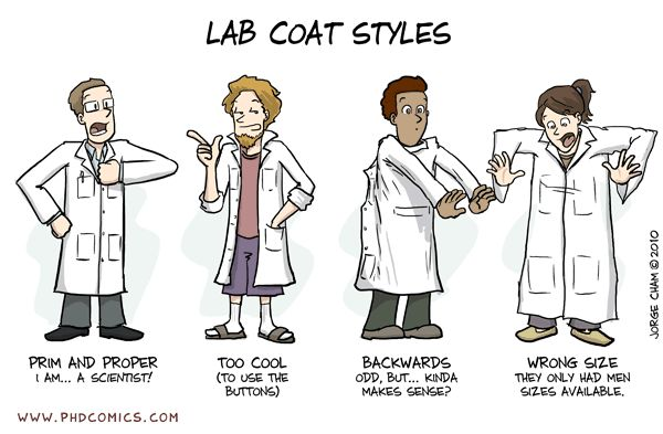 Why to wear a labcoat (cartoon) › Stripped Science