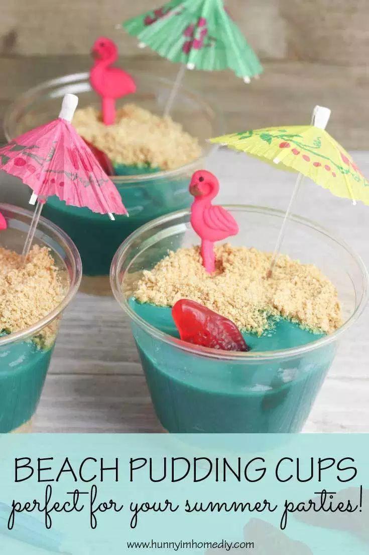 Beach Themed Pudding Cups Recipe Beach Theme Snacks Beach