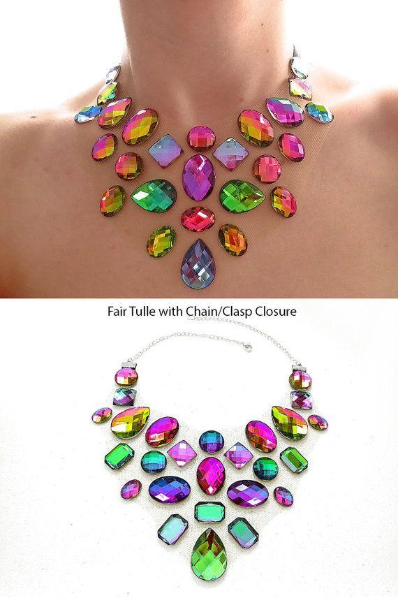 Flotando declaración collar color arco iris por SparkleBeastDesign