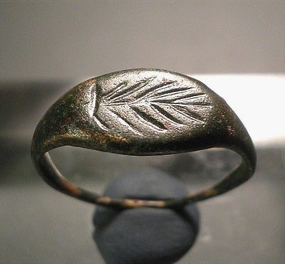 Rare Ancient Roman Bronze Seal Ring W Palm Branch C 1