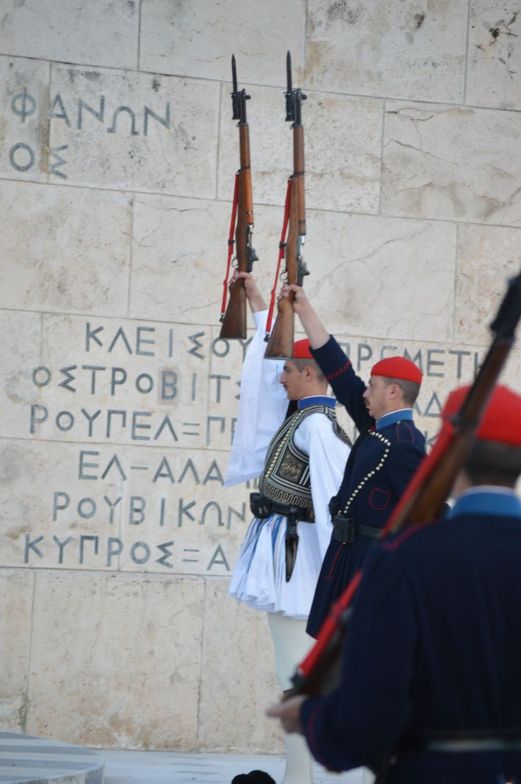 26-4-2015 Evzones at guard unknown soldier tomb Athens Greece. Presidential Guard, Προεδρική Φρουρά, Athens, Greek Guard, Evzones, Evzon Εύζωνες