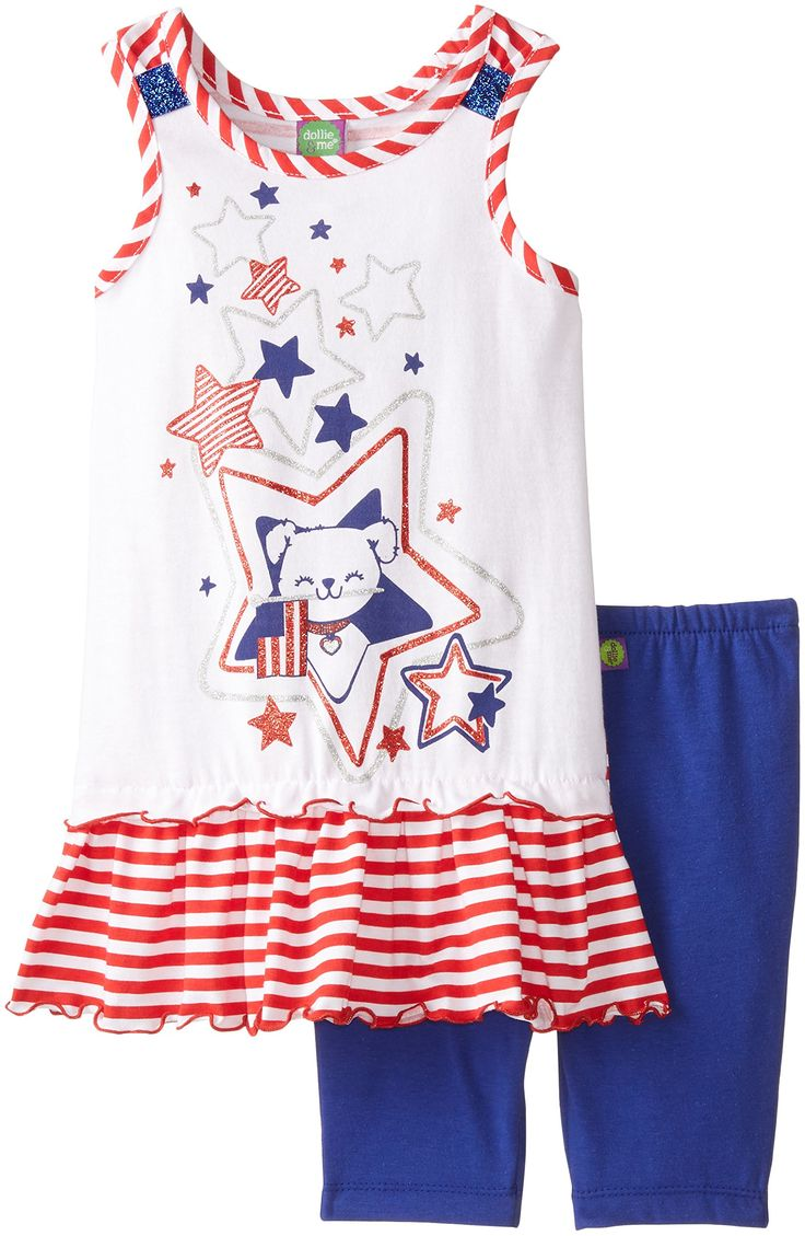 Dollie & Me Little Girls' Stars and Stripes Legging Set, Red/White/Blue, 4. Knit dress with start screen print. Knit bike shorts. Matching doll outfit.