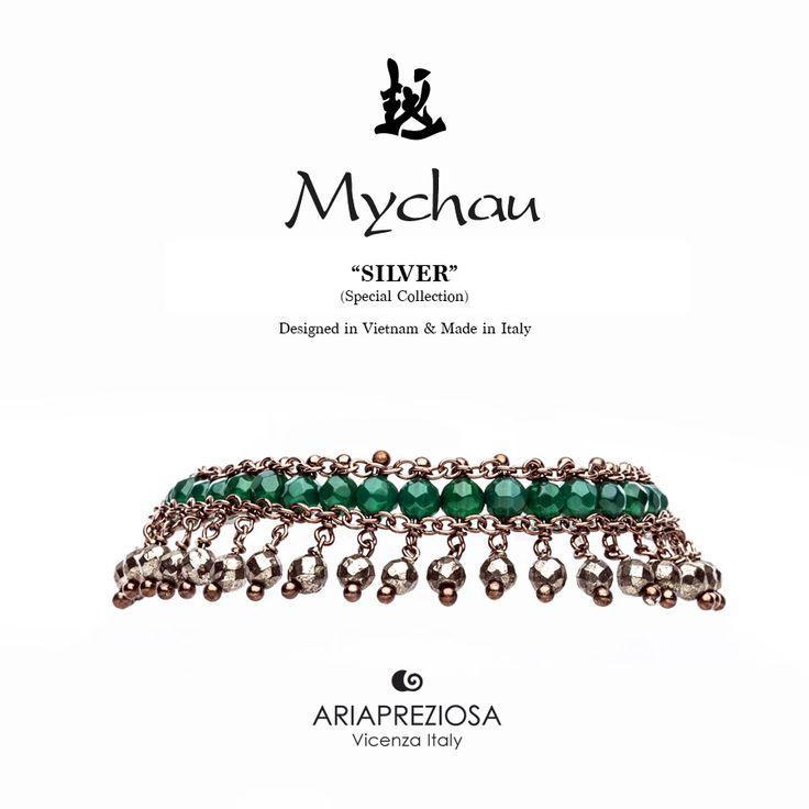 Mychau Silver - Bracciale realizzato in Argento 925‰ (galvanica chocolate) e pietre naturali Agata Verde e Pirite