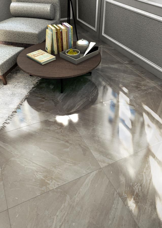 Polished porcelain stone or slate-like kitchen/foyer tiles Olympia Tile - Taupe (Must Collection) 18x18