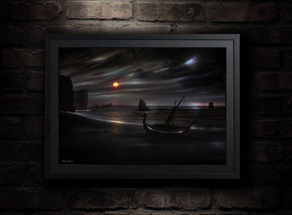 Viking Norse Pagan God Odin Raven Painting 8x10  Art Print