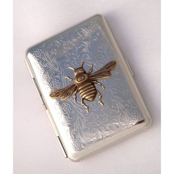 Bee Cigarette Case Vintage Inspired Gothic Victorian Steampunk Silver... ❤ liked on Polyvore featuring home, bed & bath, bath, bath accessories, silver plate holder, brass bath accessories, brass bathroom accessories, polished brass bathroom accessories and brass holder