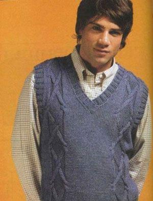 Мужское вязание жилеты » Вязание спицами, крючком, схемы вязания