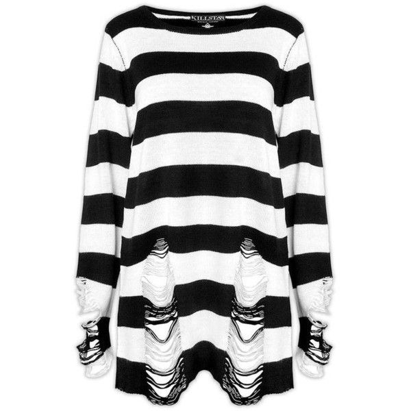 Killstar Pugsley Knit Sweater Top Black White Stripe Goth Baggy Grunge... ❤ liked on Polyvore featuring tops, sweaters, striped sweater, gothic sweaters, striped jumper, black and white sweater and knit top