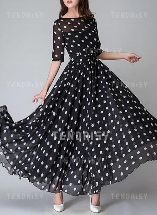 eb594d82e2 Dress -  62.68 - Polka Dot Half Sleeve Maxi X-line Dress (1955373749)