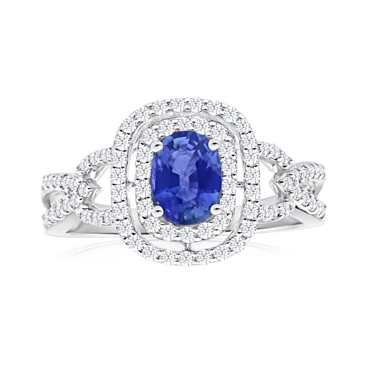 Natural Sapphire and Diamond Ring in18ct White Gold (TW=60pt)