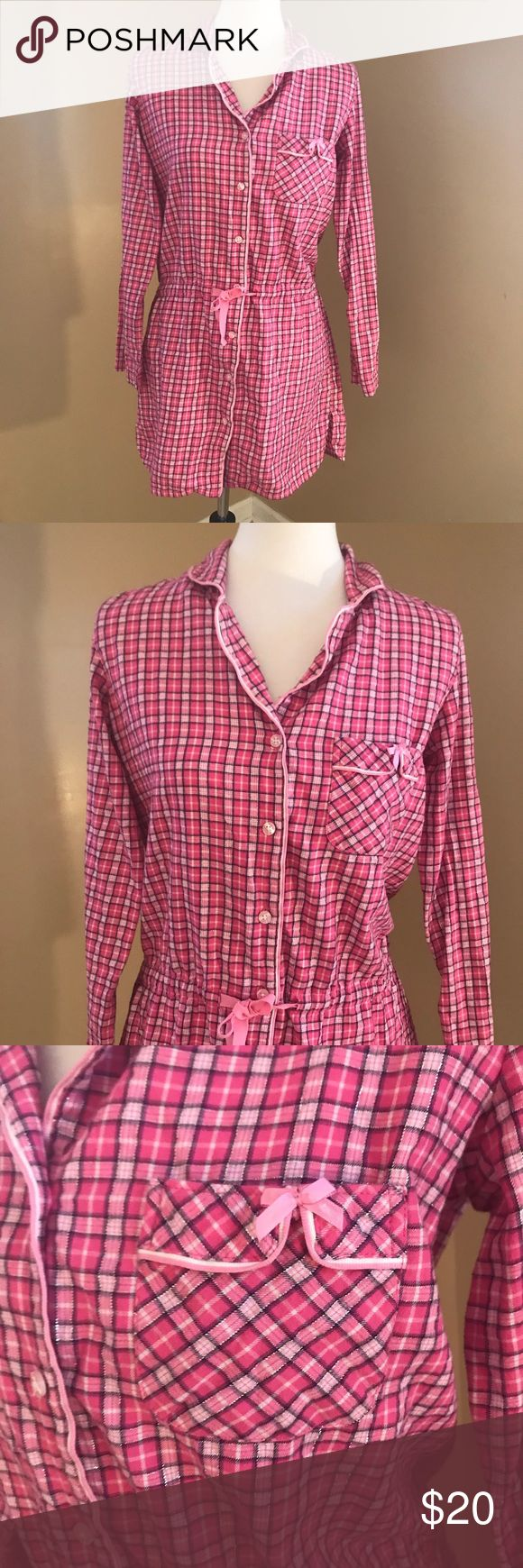 Victoria's Secret Pink Plaid Pjs Victoria's Secret Pink Plaid Shirt Dress. Shirt colors are pink and white with silver thread mixed in. Can be cinched at the waist by a string. Had a chest pocket with a tiny pink bow on it. Worn only once. Size XS but will fit a small. Pit to Pit: 20.5 inches. Offers always welcome! Victoria's Secret Intimates & Sleepwear