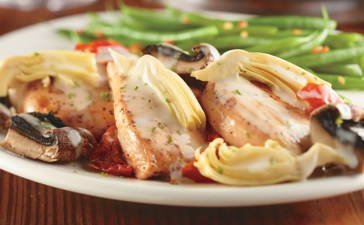 Napa Grilled Chicken from Longhorn Steakhouse  Menu description & photo  Our tender chicken breasts topped with artichoke hearts, grilled mushrooms, roasted tomatoes and a white wine herb sauce.