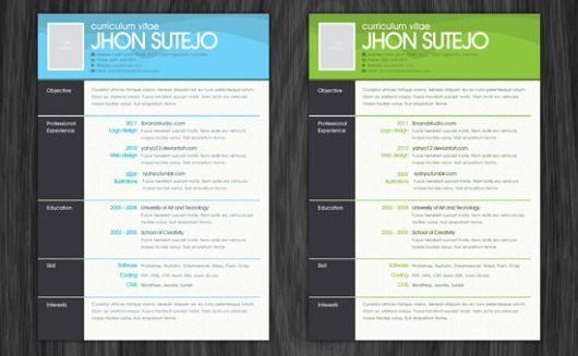 free resume photoshop templates