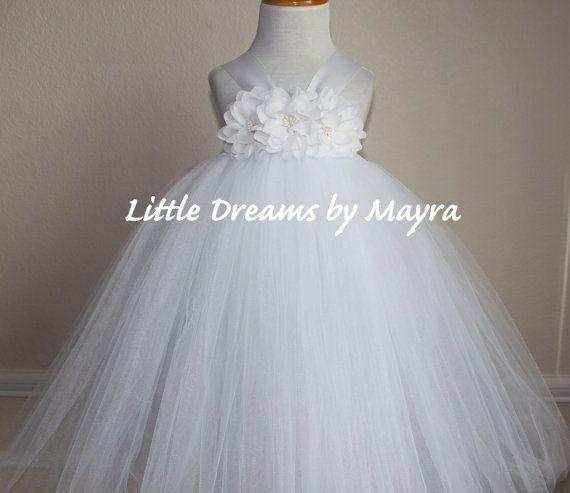 Gezwollen doopsel tutu jurk en bijpassende haarstukje, doop tutu jurk, bloemenmeisje tutu jurk grootte nb aan 4T wit