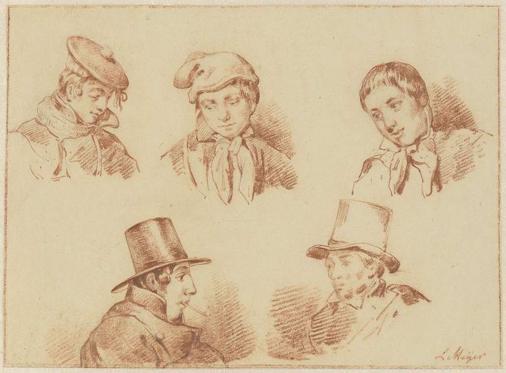 Louis Meijer   Studieblad met vijf jongens- en mannenhoofden, Louis Meijer, 1819 - 1866  