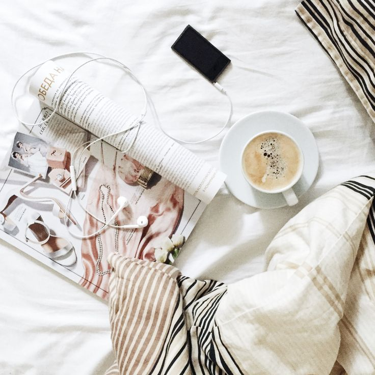 Flatlay with coffee and vogue