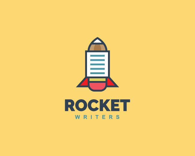 Logo in the shape of a rocket in conjunction with pencil and paper with red, blue, and brown colors.(logo design, rocket, pencil, eraser, paper, document, writer, aircraft, school, blog, app).