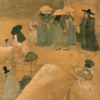(Korea) 기녀와 만남, 사계풍속도 by Kim Hong-do (1745- 1806). Guimet Museum of France.