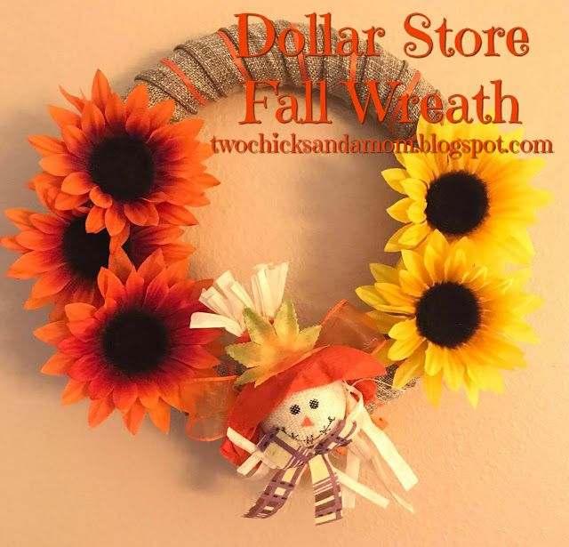 twochicksandamom.blogspot.com: Dollar Store Craft Blog Hop: Fall Wreath