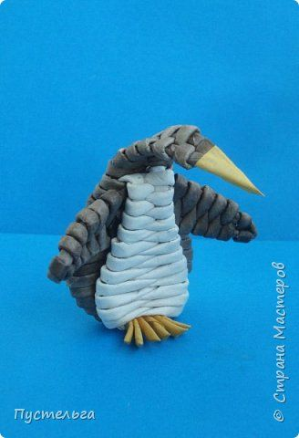 Поделка изделие Плетение Пингвин Трубочки бумажные фото 1