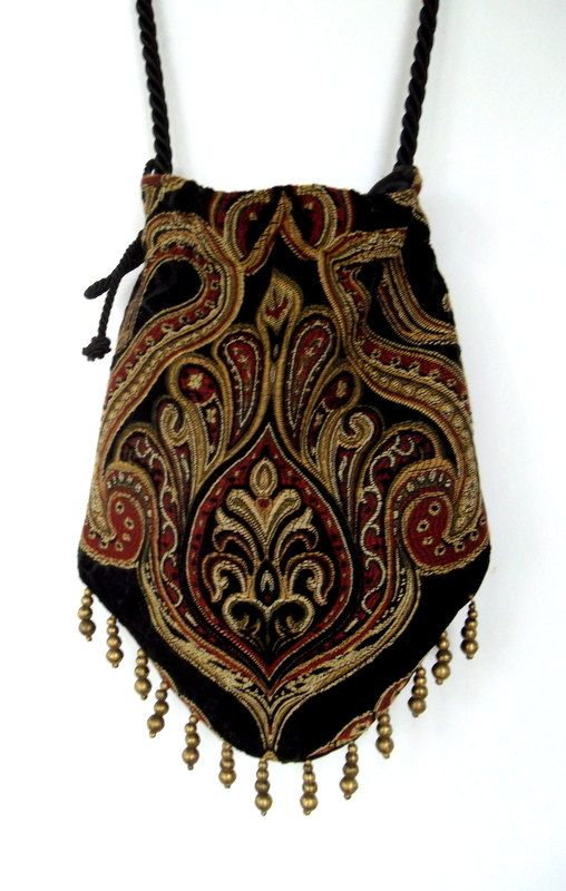 Gypsy Bag with Brass Beads Hippie Bag Boho Bead by piperscrossing, $42.00