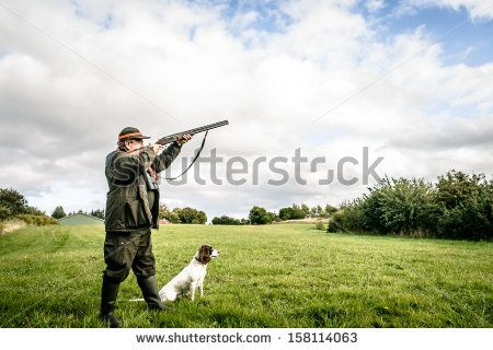 Hunter With Dog Aiming With His Rifle Lagerfoto 158114063 : Shutterstock