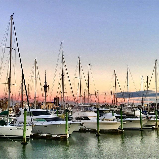 Beautiful evening in the city of sails. #auckland #sunset #eveningsky #cityofsails #cloudtravelnz #yachtlife