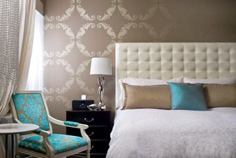 taupe and turquoise bedroom