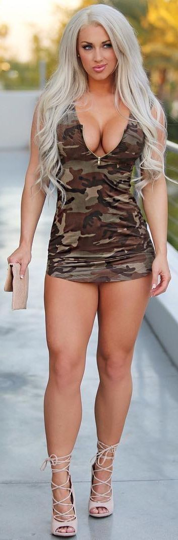 Laci Kay Somers in a camo short dress