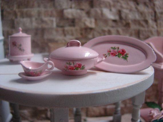 Кукольная Миниатюра потертый шик розовый набор порционные куски с красивыми розами мотив
