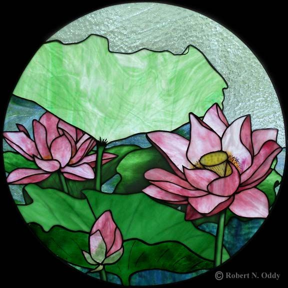 "stained glass pattern water lilies | Water Lily (2005) 19"" diameter; stained glass residential window."