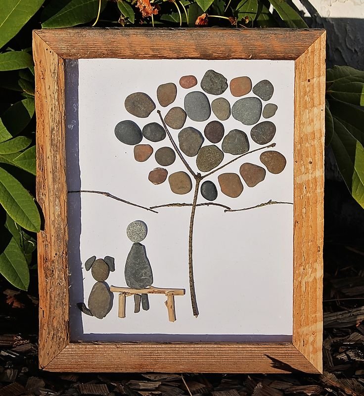 A dog and its master. Pebble Art by www.saltandpebbles.com