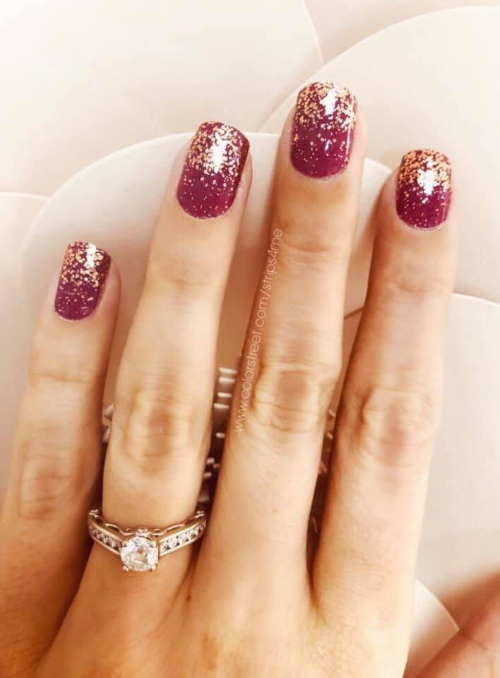 These Amazing Burgundy Nails With A Rose Gold Glitter Dip Are Color Street This Is Port Ugal A