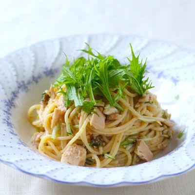 和えるだけ! ツナと水菜の塩麹スパゲティ