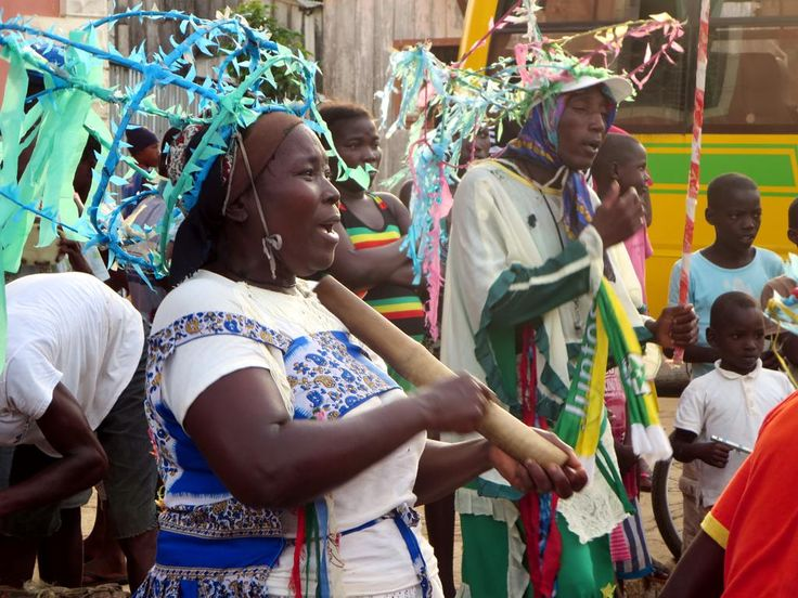 Dancers pose at Pantufo just south of Sao Tome town, São Tomé and Príncipe.