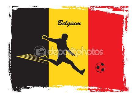 Soccer player on Belgium flag background. European championship abstract Vector Illustration. Belgium flag. Soccer icon Belgium. Color of Belgian flag. For Art, Print, Web design. Football Sport/ — Stock Vector © sofiartmedia.gmail.com #116006446