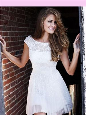 White Lace Tulle 2013 Short Prom Dress APR230049