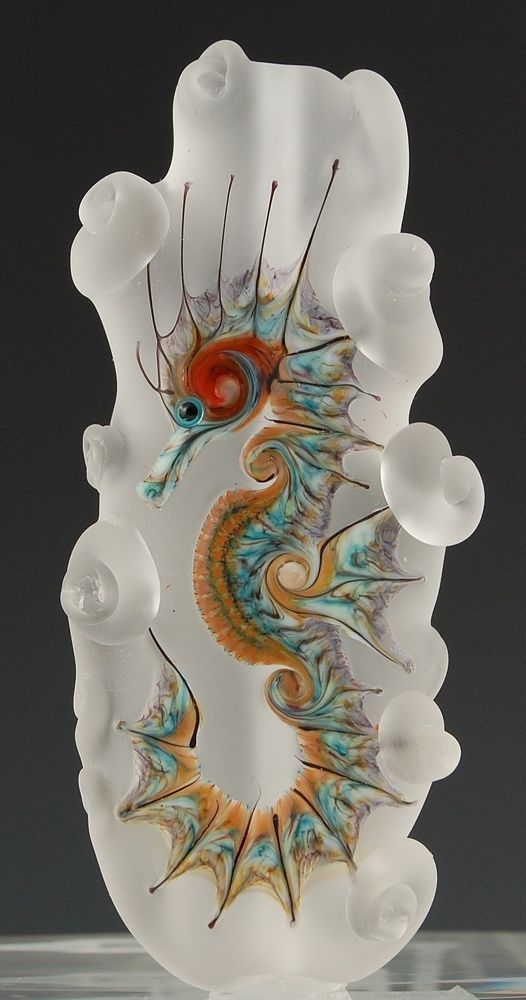 """Seahorse Glass Sculpture. """"Repinned by Keva xo""""."""