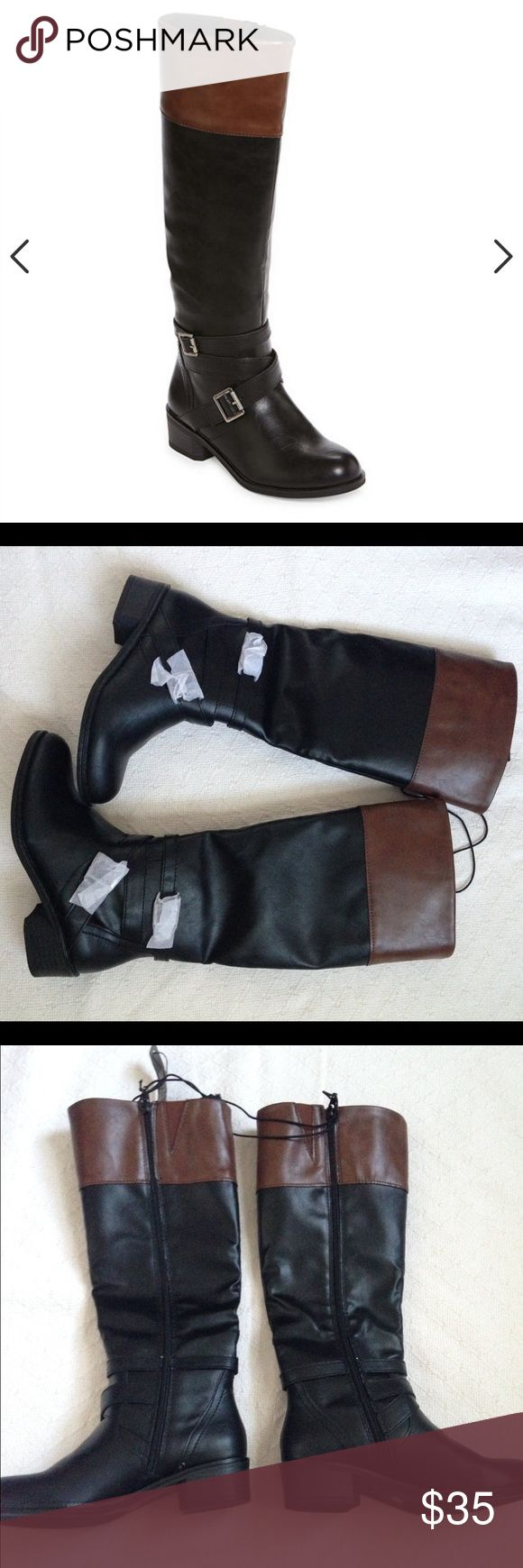 Arizona Dakota Two Tone Riding Boots Size 6 two tone riding boots. These are brand new, never worn! They still have tissue on the buckles! Great for fall 🍁🍂 No box. Arizona Jean Company Shoes